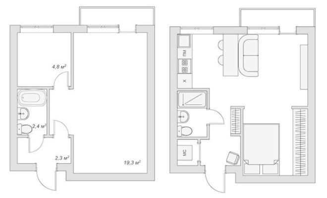Дизайн однокомнатной квартиры 40 кв м  лучшие фото и