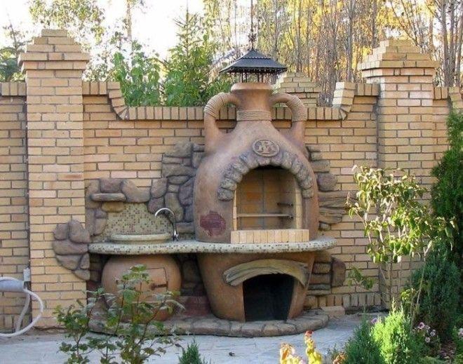 Садовая кирпичная печьбарбекю как неотъемлемая часть ландшафтного дизайна садового участка