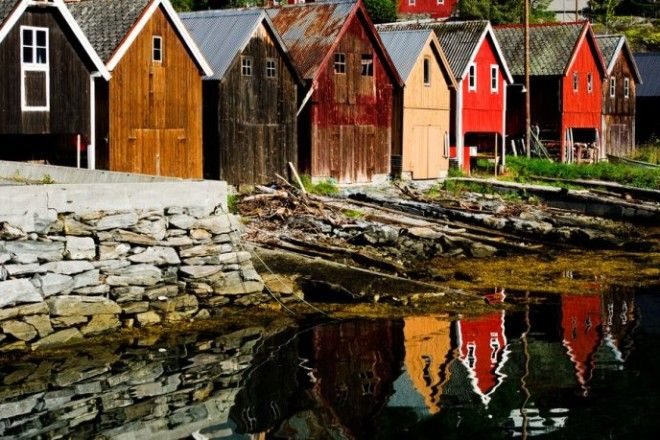 Boat houses in Fjr Norway