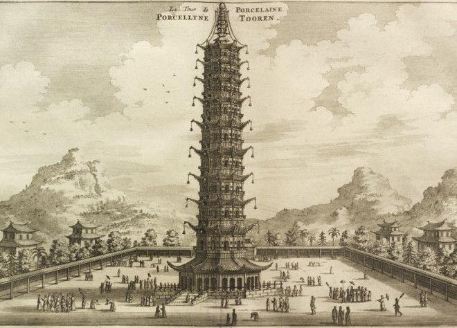 Фарфоровая пагода Китай Буддийский храм в Нанкине был возведен во времена китайской династии Мин Восьмигранная 78метровая пагода была сложена из белого фарфорового кирпича Наряду с Тяньцзе и Лингу во времена династии Мин сооружение считалось одним из трех знаменитых храмов города а европейские путешественники называли башню одним из главных чудес Китая В 1801 году три верхних яруса башни были повреждены ударом молнии Храм восстановили но в 1856 году строение снесли тайпины опасавшиеся что враги могут использовать башню в качестве наблюдательного пункта